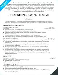 Resume For Housekeeping In Hospital Resume For Housekeeping Manager