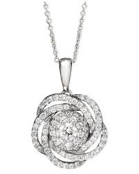 wrapped in love metallic tm diamond knot pendant necklace in 14k white gold 1
