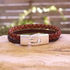 mens braided leather cuff bracelet discontinued