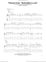 Williams - Theme From 'Schindler's List' sheet music for guitar solo