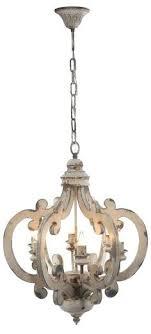 6 light mini chandelier white wood washed bead