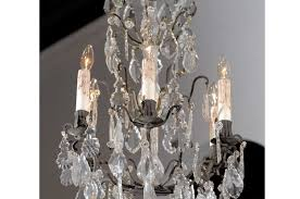 sold rococo revival french six light crystal chandelier with flower bobeches 1890s