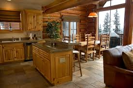 log cabin lighting ideas. Excellent Cabin Kitchen And Dining Area With Lodge Decor Log Lighting Ideas C