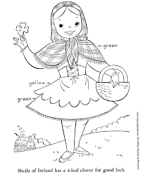 Small Picture St Patricks Day Coloring Pages Irish girl with shamrock