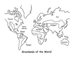 African Grasslands Coloring Pages World Map Map Grasslands Outline