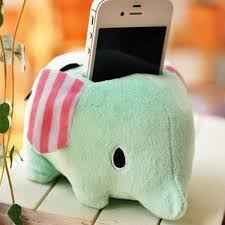 cute sweet plush elephant iphone stand