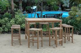 image of bar height outdoor table wood