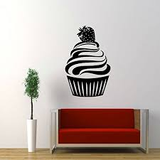 large strawberry cupcake vinyl wall art stickers decal mural kitchen kids room decor on cupcake wall art stickers with large strawberry cupcake vinyl wall art stickers decal mural kitchen