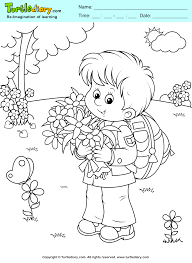 Boy With Flowers Spring Coloring Page