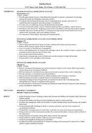 Financial Operations Analyst Resume Samples Velvet Jobs