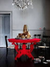 looking for modern dining room decorating ideas take a look at this grey dining room with bold red table from livingetc for inspiration