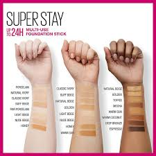 Maybelline Superstay Foundation Light Beige Swatch Maybelline New York Super Stay Foundation Stick For Normal To Oily Skin Espresso 0 25 Ounce