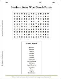 Southern U.S. States Word Search Puzzle Worksheet | K-12 Education ...