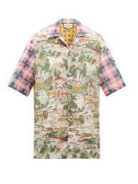 Oversized Wild Animal Print Cotton Bowling Shirt Gucci