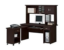 computer desk home office. espresso finish home office computer desk with hutch f
