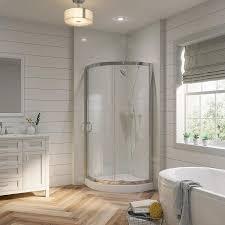 bathroom corner shower. Interesting Bathroom OVE Decors Breeze Chrome Acrylic Floor Round 2Piece Corner Shower Kit  Actual Intended Bathroom Loweu0027s