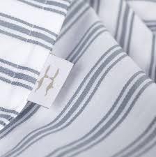 ticking stripe blue grey toddler cot bed duvet set by harriet hare
