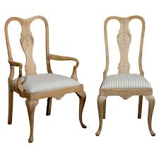 19th century set of six limed oak french dining chairs for