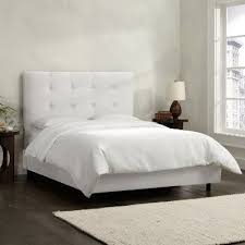 white upholstered twin bed.  Bed 790BEDPRMWHT White Square Tufted Twin Upholstered Bed And H