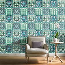 grandeco botanical moroccan tile pattern wallpaper retro fl textured motif ba2503