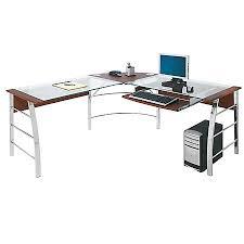corner desk office depot. Realspace Mezza L Shaped Glass Computer Desk CherryChrome By Pertaining To Office Depot Plan 12 Corner P