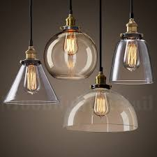 details about new modern vintage industrial retro loft glass ceiling lamp shade pendant light