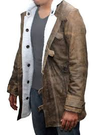 distressed leather shearling jacket