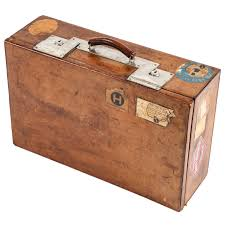 vintage brown leather suitcase for