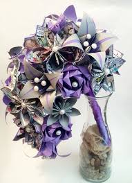 Paper Origami Flower Bouquet Comic Book Cascading Bouquet Paper Bouquet One Of A Kind Origami