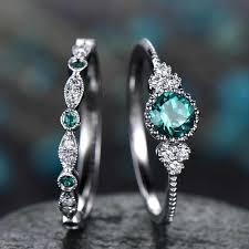 <b>2Pcs</b>/Set 2019 Luxury Green Blue Stone Crystal <b>Rings</b> For Women ...