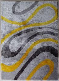 yellow shaggy area rug with grey  rug addiction