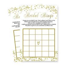 Bridal Shower Bingo Game Card Set Of 25 Abstract Black And Gold