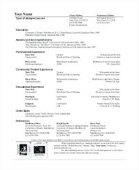 Movie Theatre Resume Movie Theater Resume Sample For Beginners Theatrical Template Acting