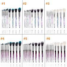 diamond shape makeup brushes set crystal diamond transpa handle professional foundation makeup brush kit 6 styles rra895 beauty makeup from