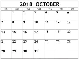 pdf printable calendar october 2018 calendar pdf excel word printable templates free