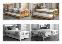 artisan solid wood single guest bed with trundle oak white