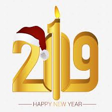 2019 New Years Creative Word With Christmas Hat Art Words Png