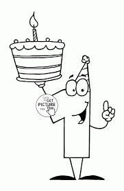 Small Picture Number One with Birthday Cake coloring page for kids holiday