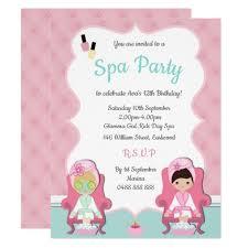 Girls Spa Invite Pamper Party Make Up Invitation
