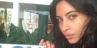 kim kardashian shares makeup free selfie the rarest of all kardashian selfies huffpost
