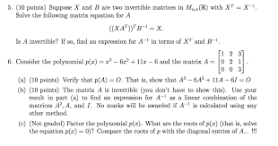 10 points suppose x and b are two invertible matrices in mn