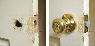 replace antique door knob with modern knob refinishing to be done by client