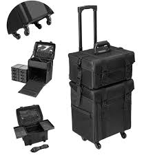 details about rolling makeup artist trolley professional black train case soft sided storage