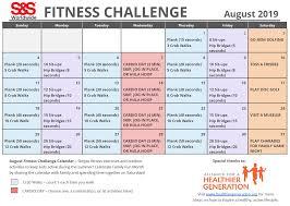 August Calandar August Printable Fitness Challenge Calendar S S Blog