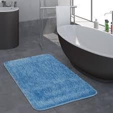 Hochflor Badezimmer Teppich Einfarbig Blau Teppichcenter24