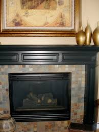 slate tile mosaic fireplace surround