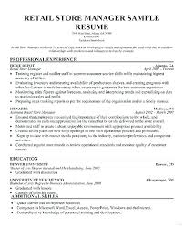 Retail Store Manager Resume Sample Resumes For Retail Medium Small