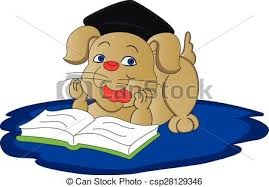 vector of dog reading book