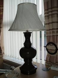 large dark green table lamp and shade excellent condition 73 cm tall base