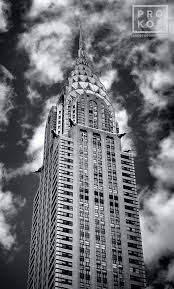 chrysler building black and white. a panoramic view of the chrysler building in new york city black and white r
